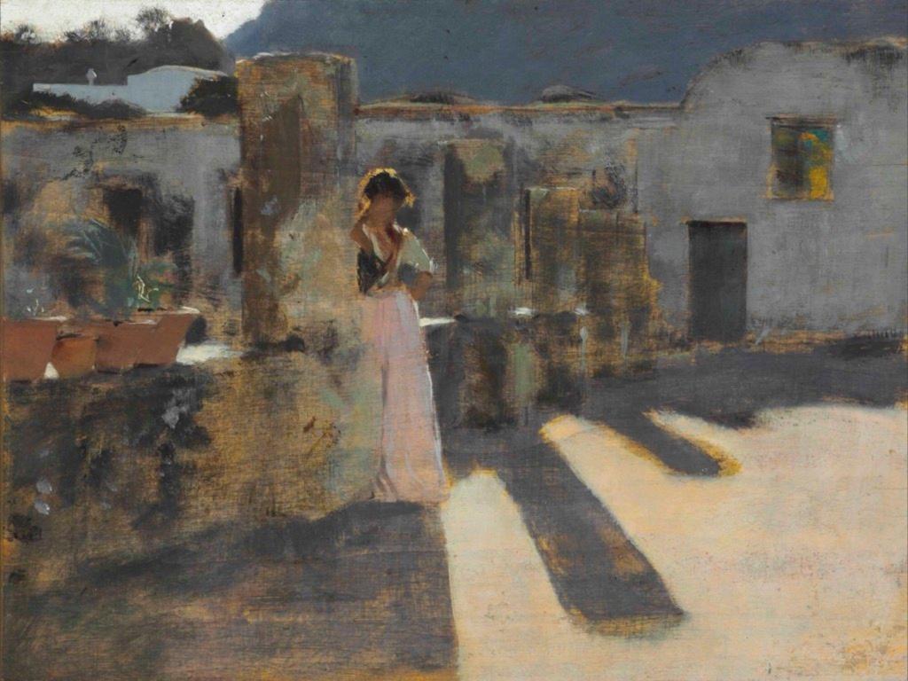 Capri, fille sur un toit de Singer Sargent