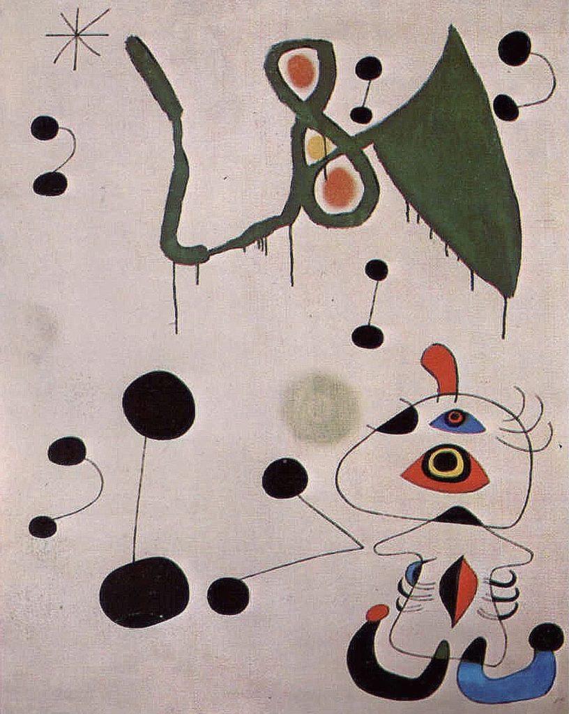Femme et oiseau dans la nuit de Joan Miro