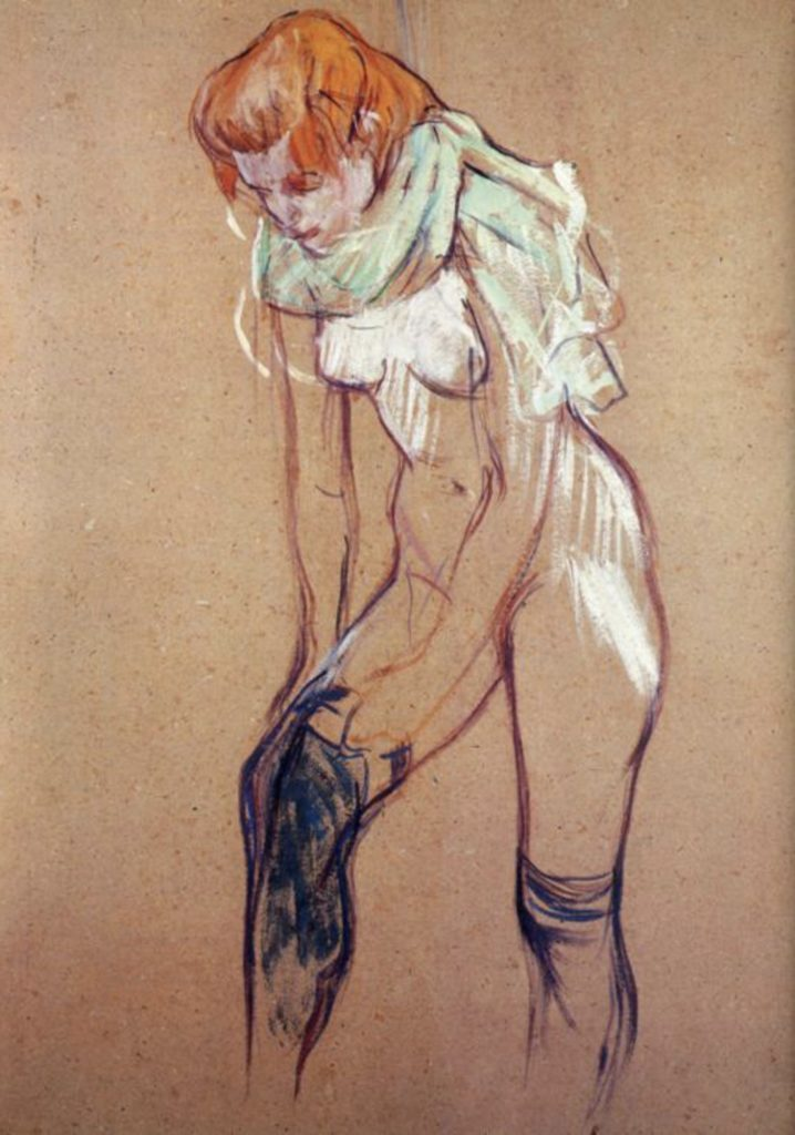 Femme mettant son bas de Toulouse-Lautrec