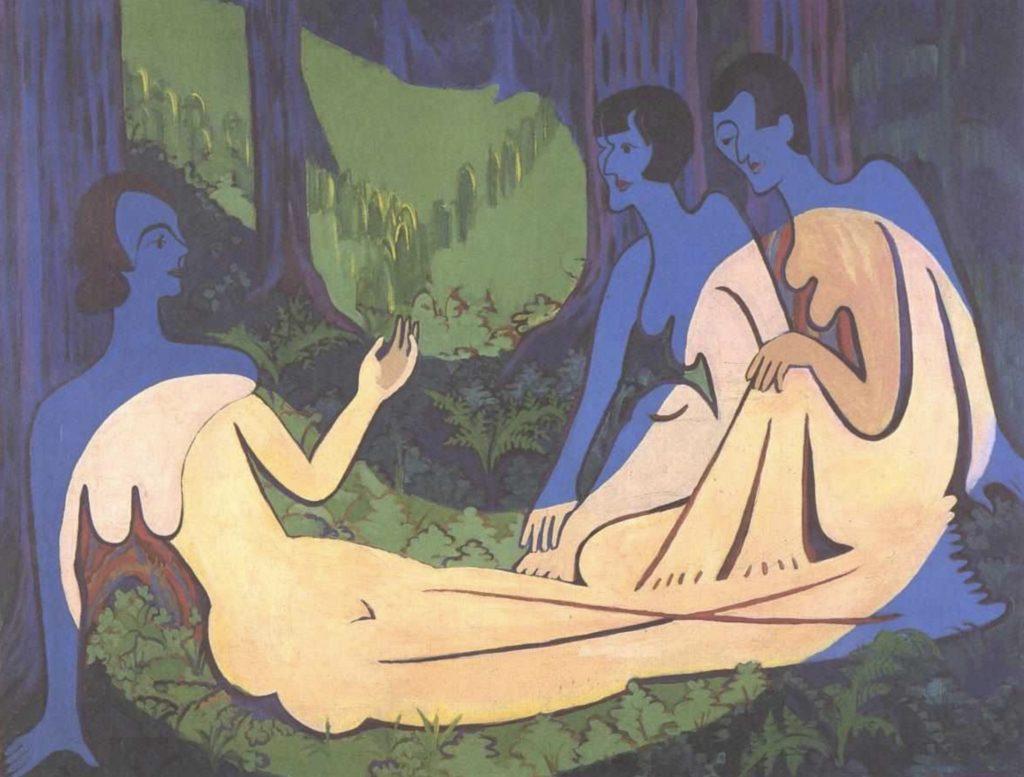 Trois nus en forêt par Ernst Ludwig Kirchner