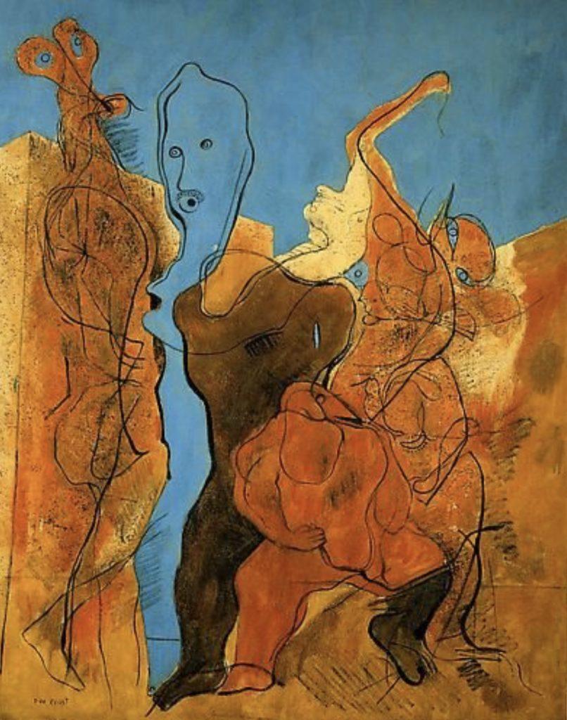 Personnages dont un sans tête par Max Ernst