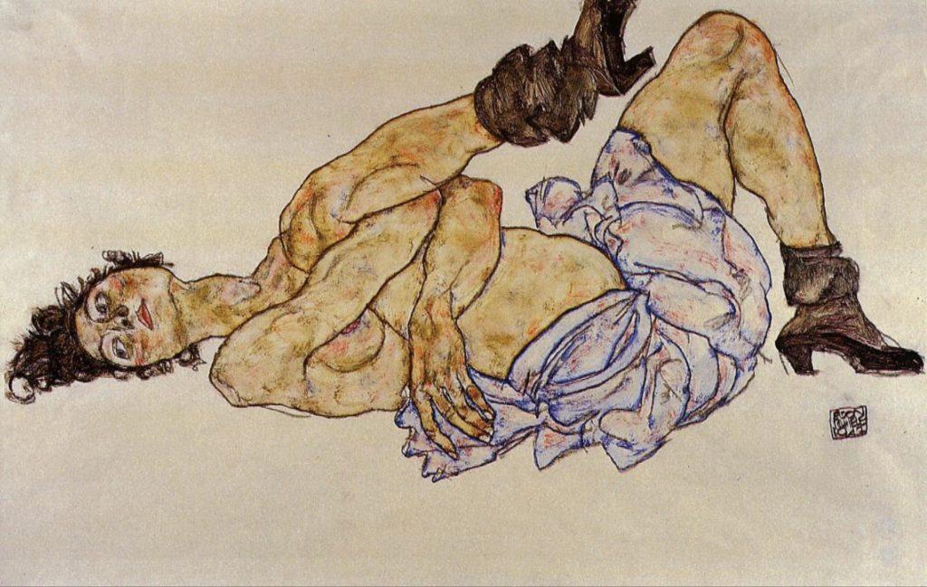 Femme nue couchée par Egon Schiele