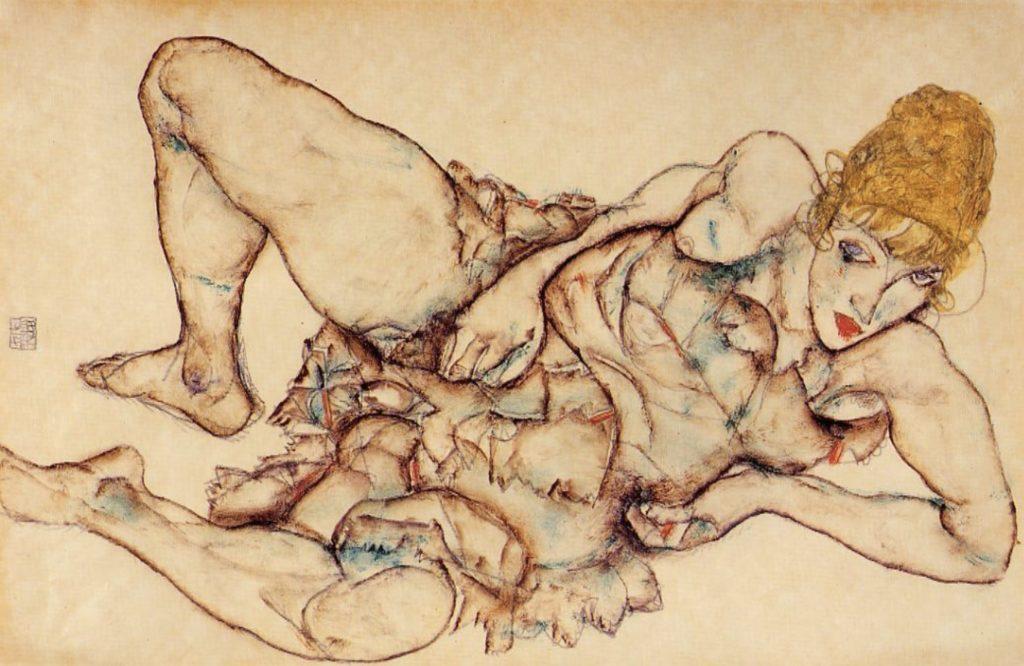 Femme blonde allongée par Egon Schiele