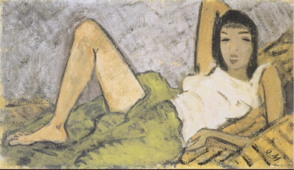 Fille couchée par Otto Mueller