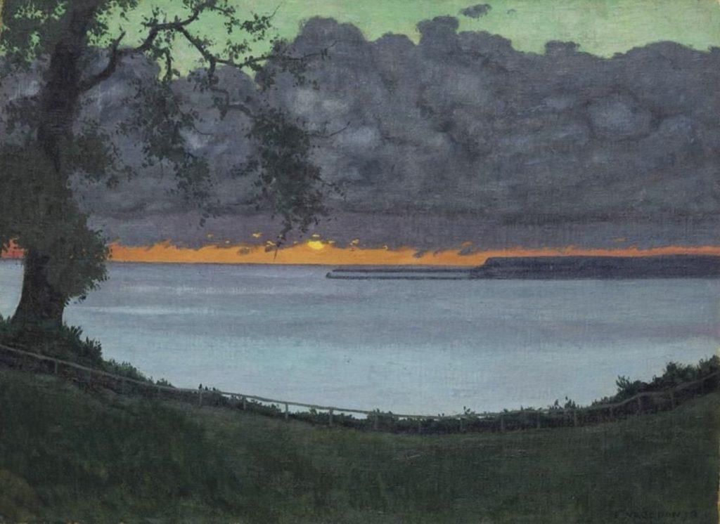 Coucher de soleil, ciel orangé et vert de Félix Vallotton