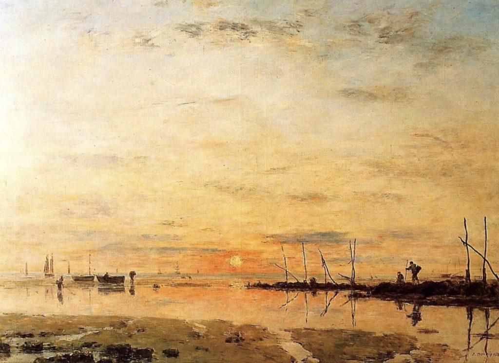 Le Havre, coucher de soleil à marée basse d'Eugène Boudin