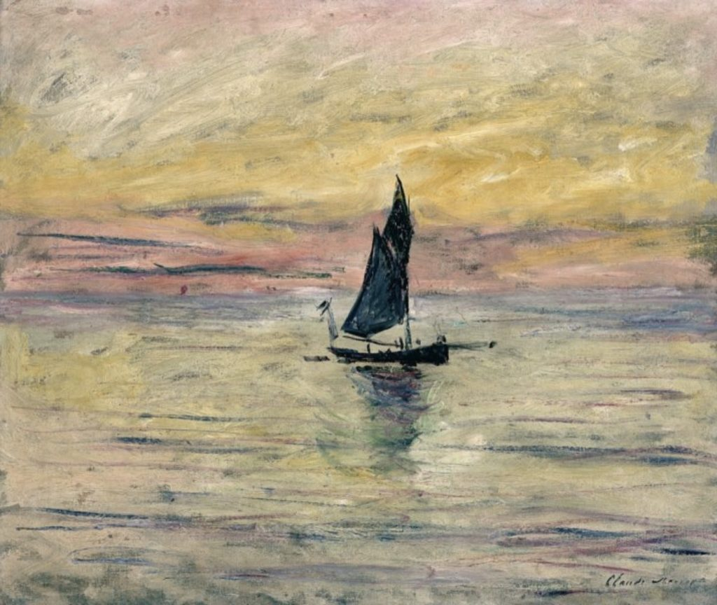 Le voilier, l'effet du soir de Claude Monet