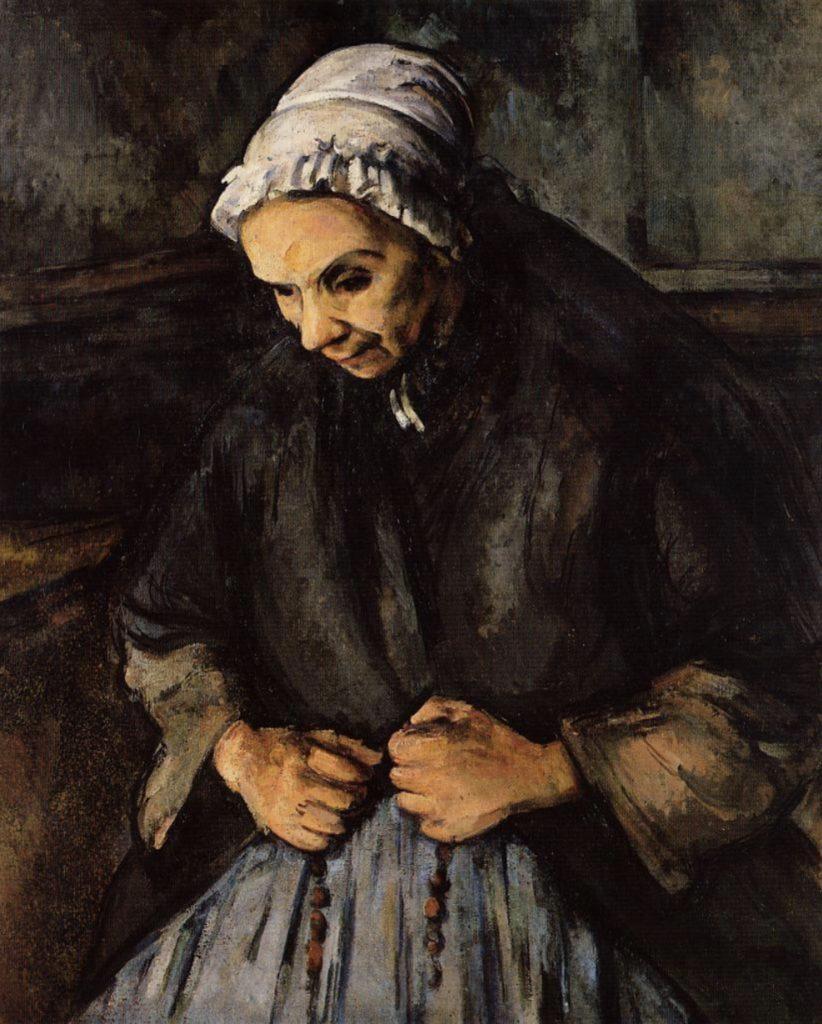 Vielle femme avec un chapelet de Cézanne