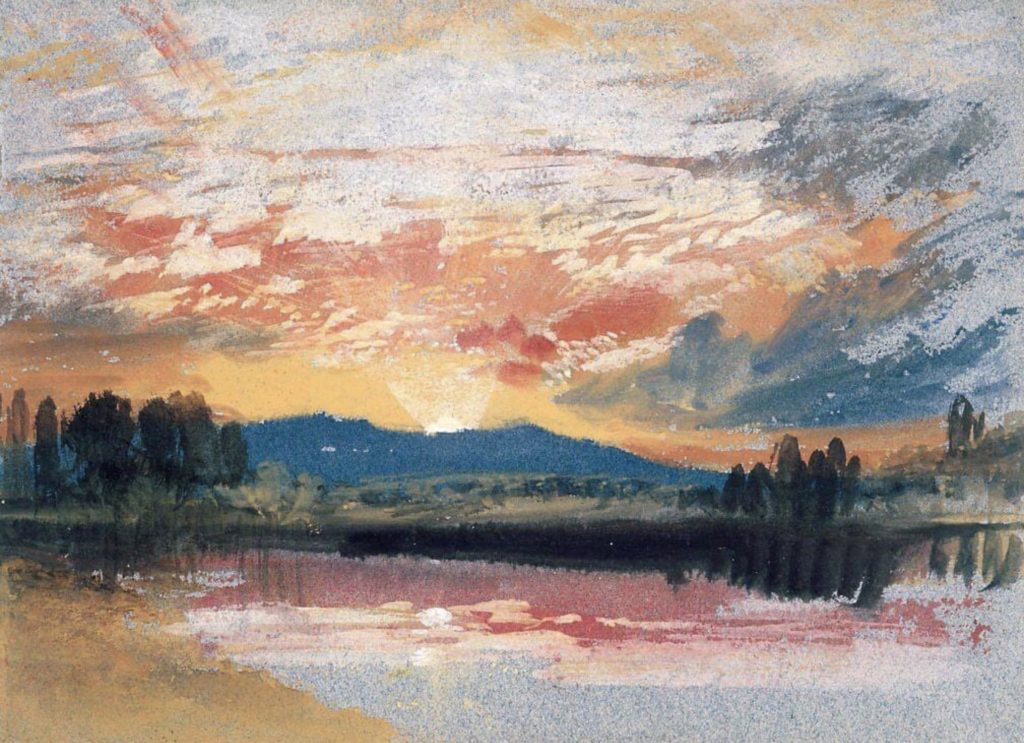 Coucher de soleil sur Petworth Park de William Turner