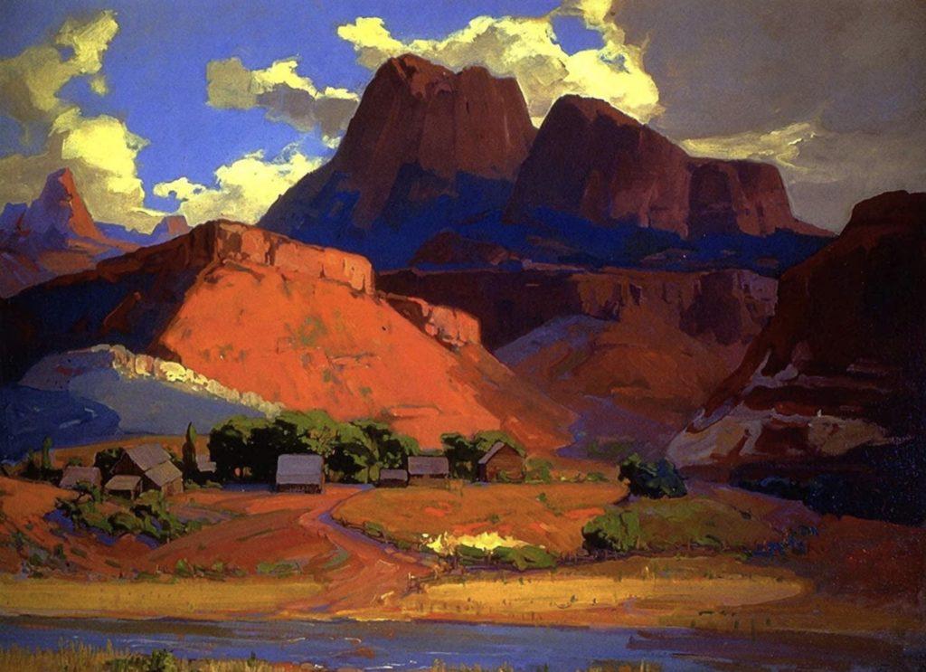 Fermes dispersées le long de la rivière, Utah par Franz Bischoff
