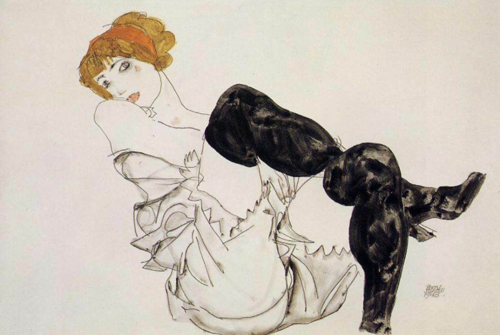 Femme en bas noirs d'Egon Schiele