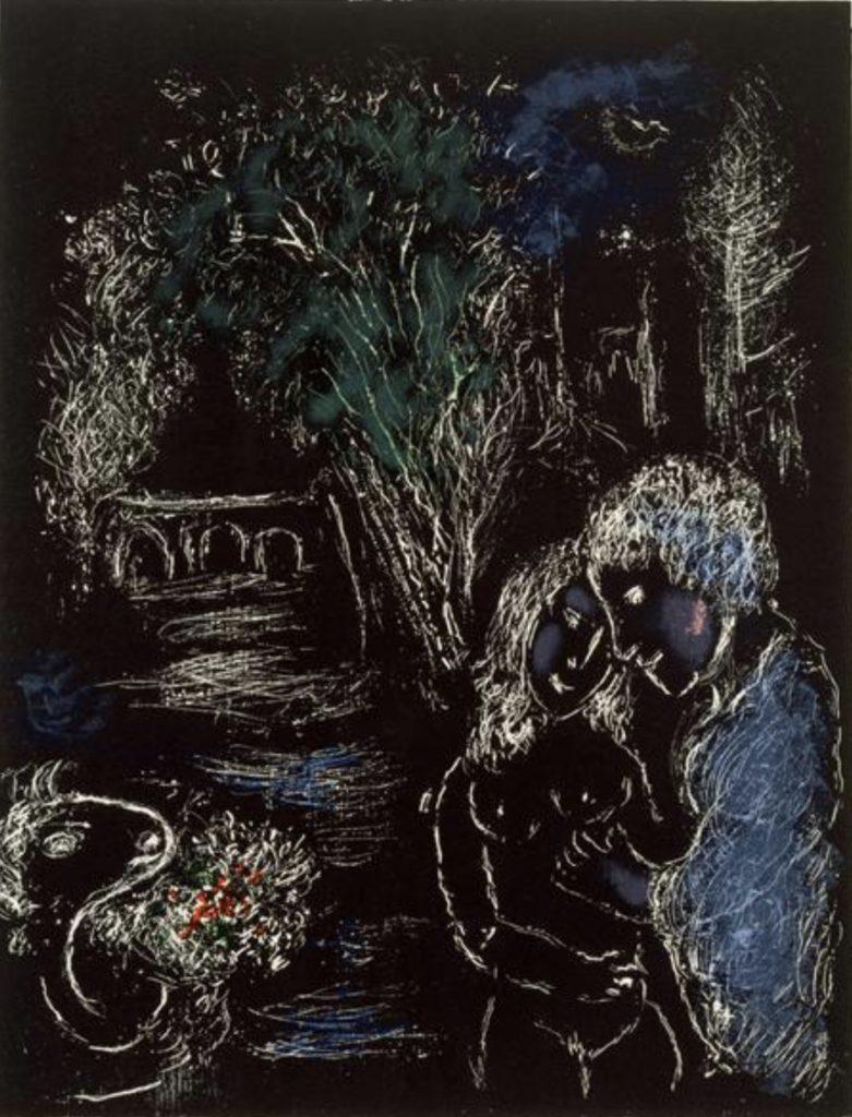 Un arbre vert avec des amoureux de Marc Chagall