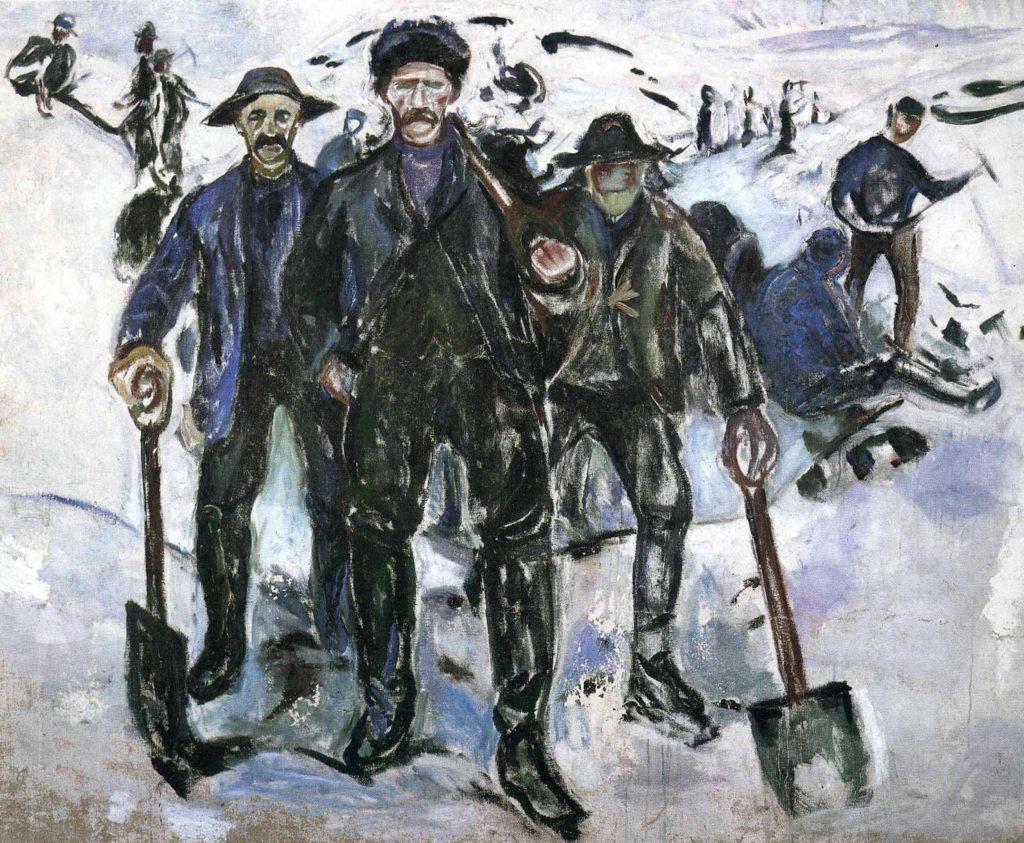 Travailleurs dans la neige d'Edvard Munch