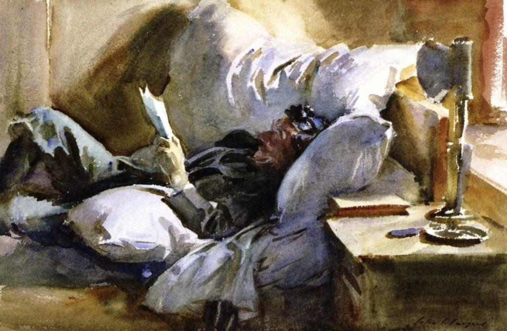 Homme lisant de John Singer Sargent