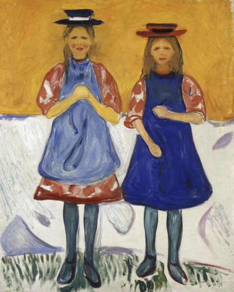 Deux petites filles avec des tabliers bleu par Edvard Munch