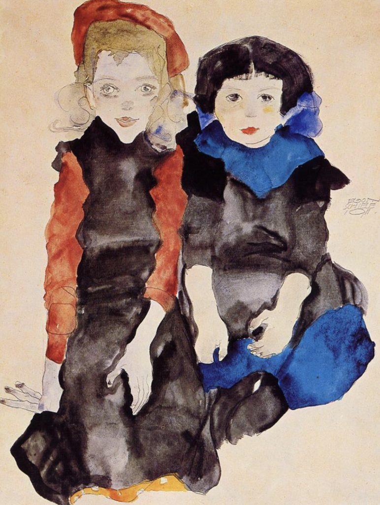 Deux petites filles par Egon Schiele