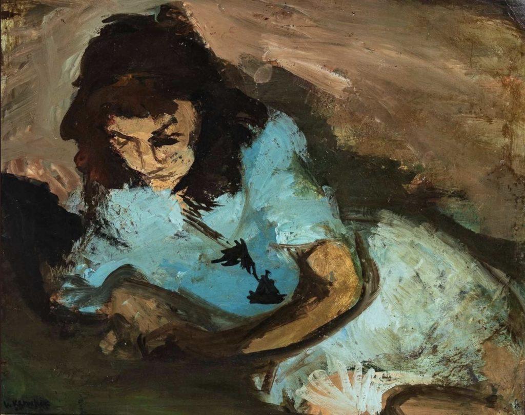 Jeune fille au chemisier bleu par Vasyl Khmeliuk