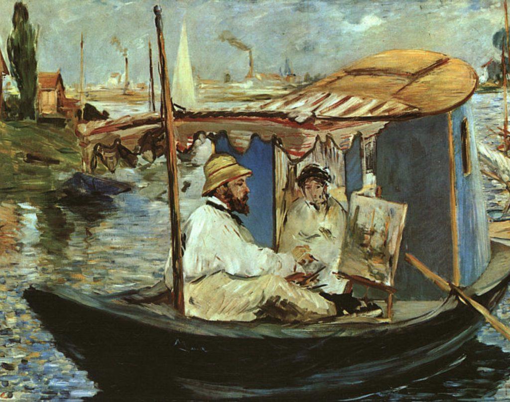 L'artiste sur son bateau, Claude Monet