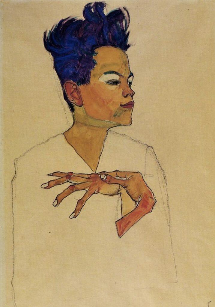 Autoportrait les mains sur la poitrine d'Egon Schiele