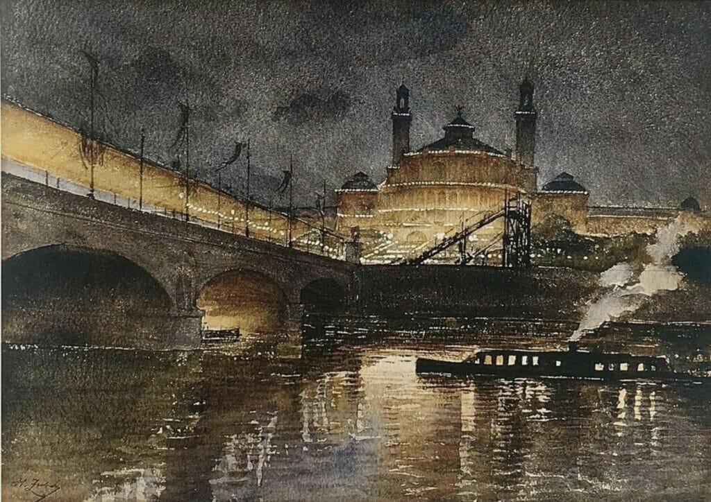 Trocadéro de nuit, Paris par H. Zuber