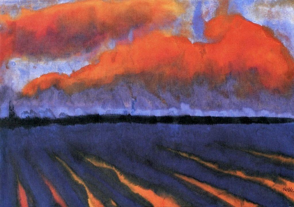 Paysage le soir, aquarelle d'Emil Nolde
