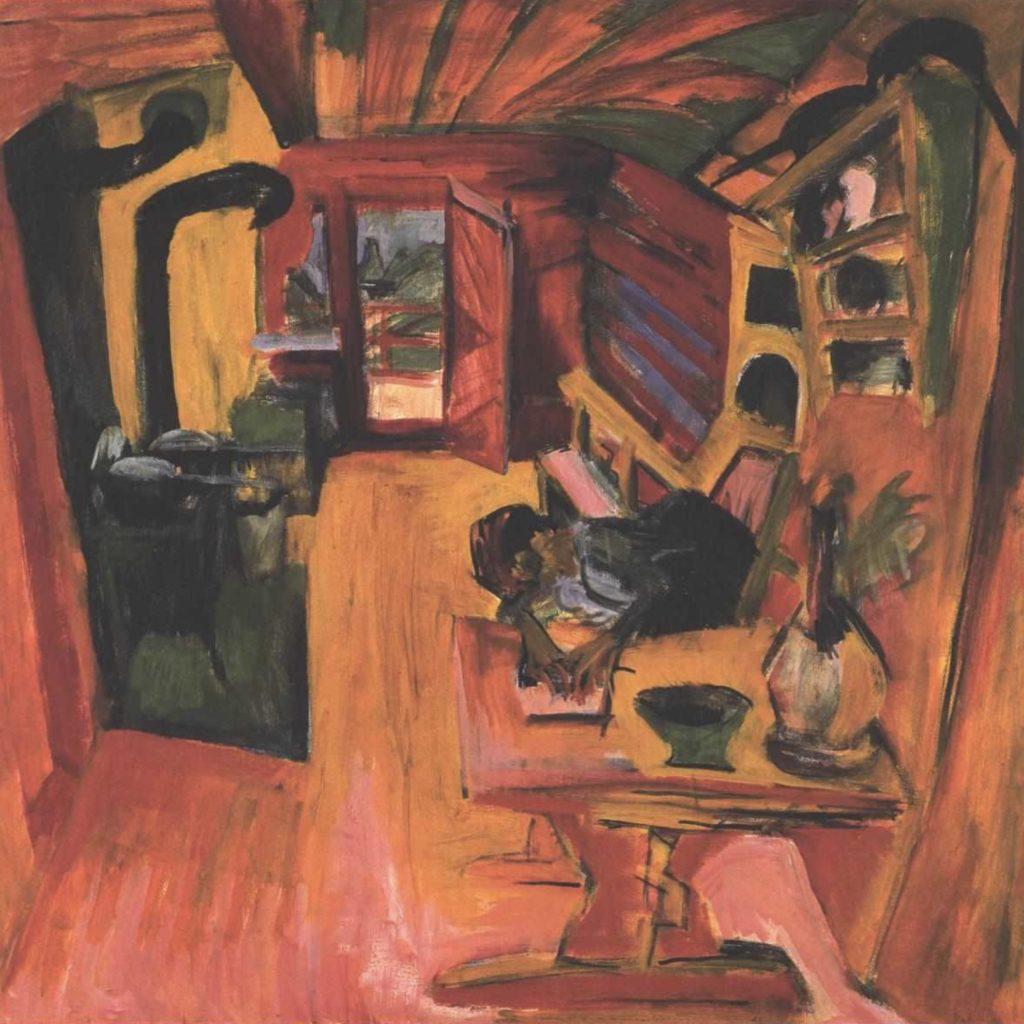 Cuisine dans un refuge alpin par Ernst  Ludwig Kirchner