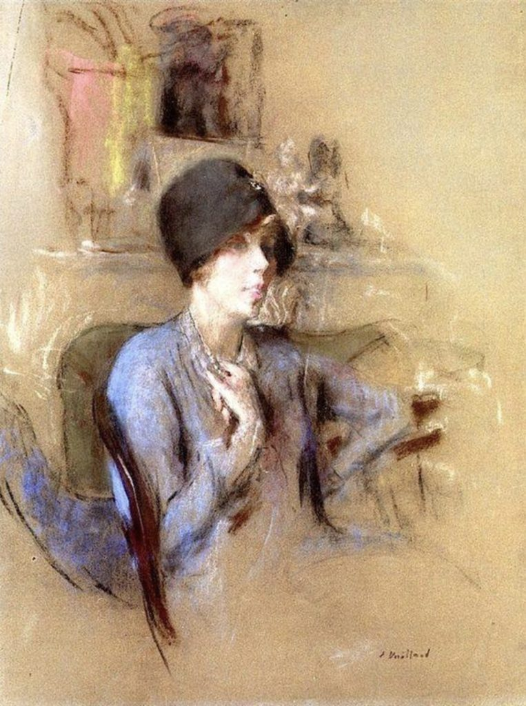 Dame en bleu avec un chapeau en tissu Par Édouard Vuillard