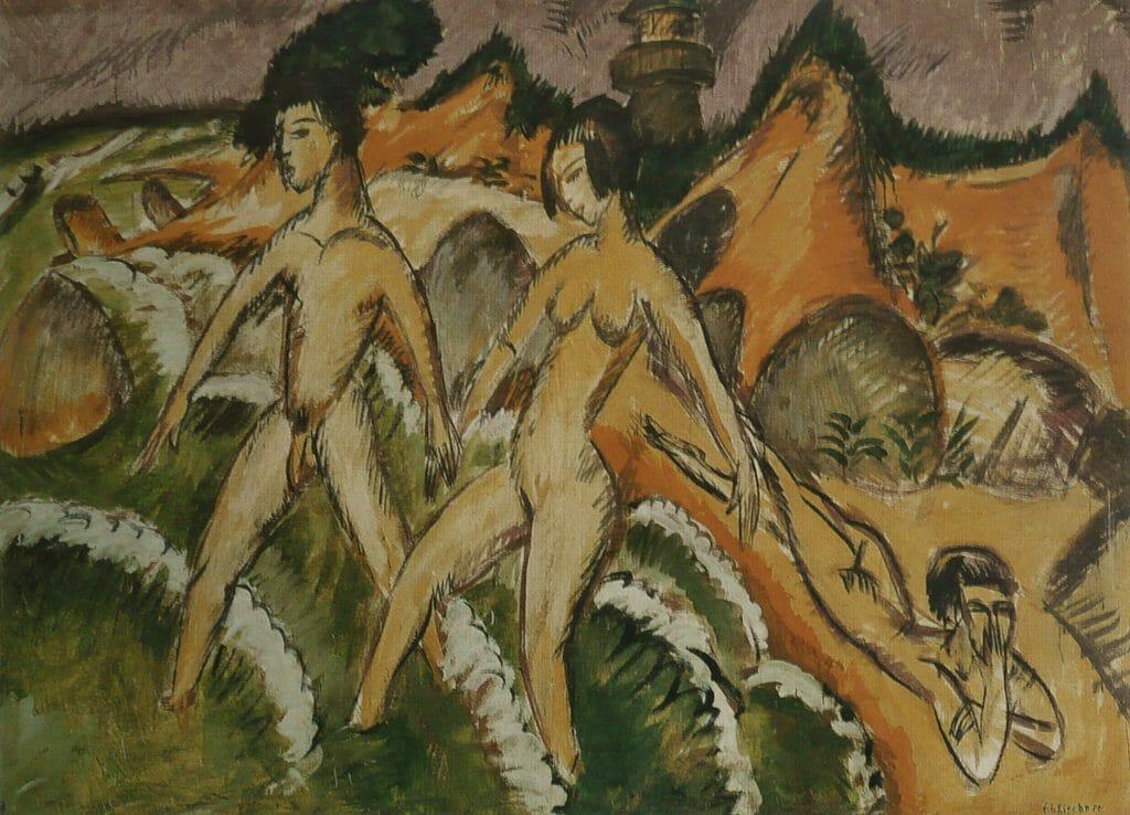 Jeunes gens marchant dans la mer par ERnst Ludwig Kirchner