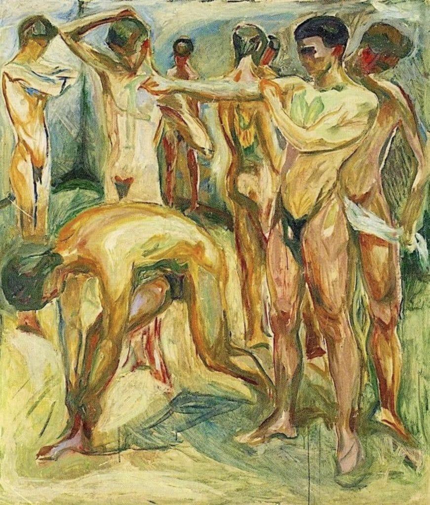 Hommes nus dans les bains  par Edvard Munch