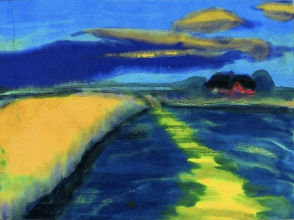 Marais, le soir près d'une ferme par Emil Nolde