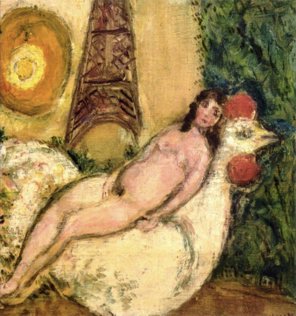 Nue sur un coq blanc de Marc Chagall