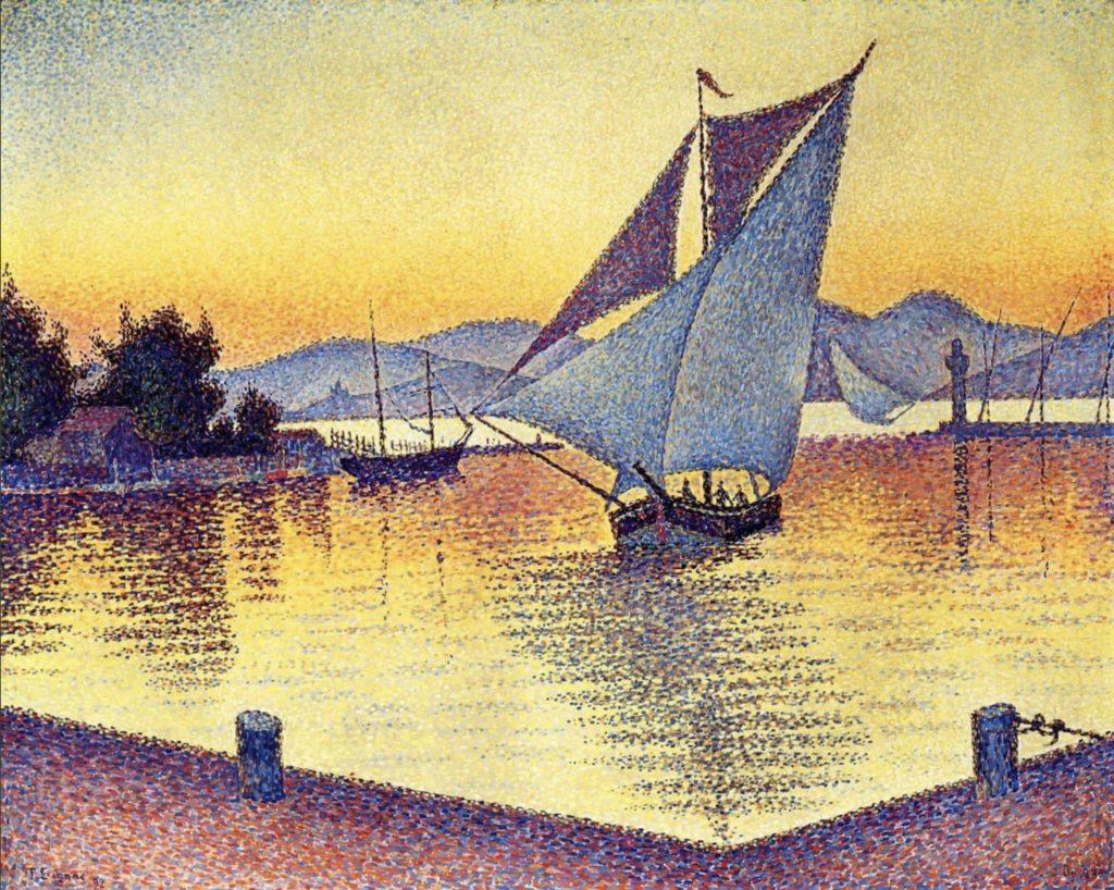 Le port de Saint-Tropez au coucher de soleil par Paul Signac