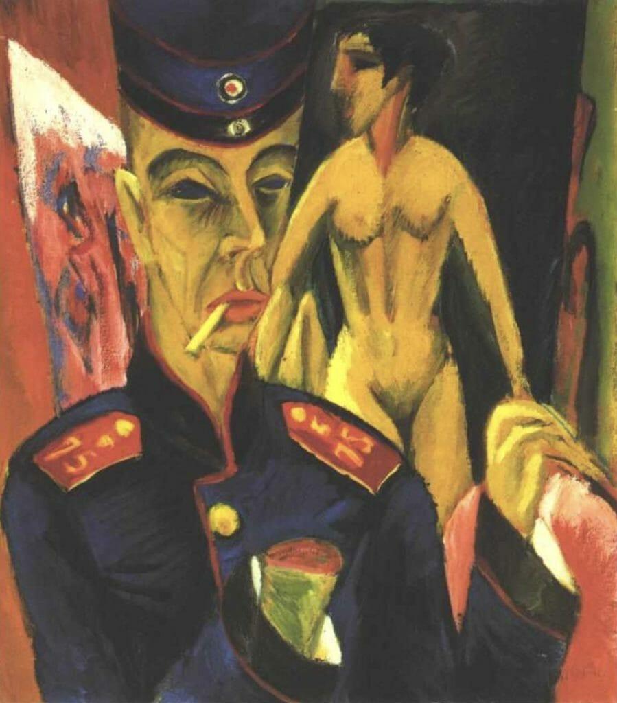 Autoportrait en tant que soldat d'Ernst Ludwig Kirchner