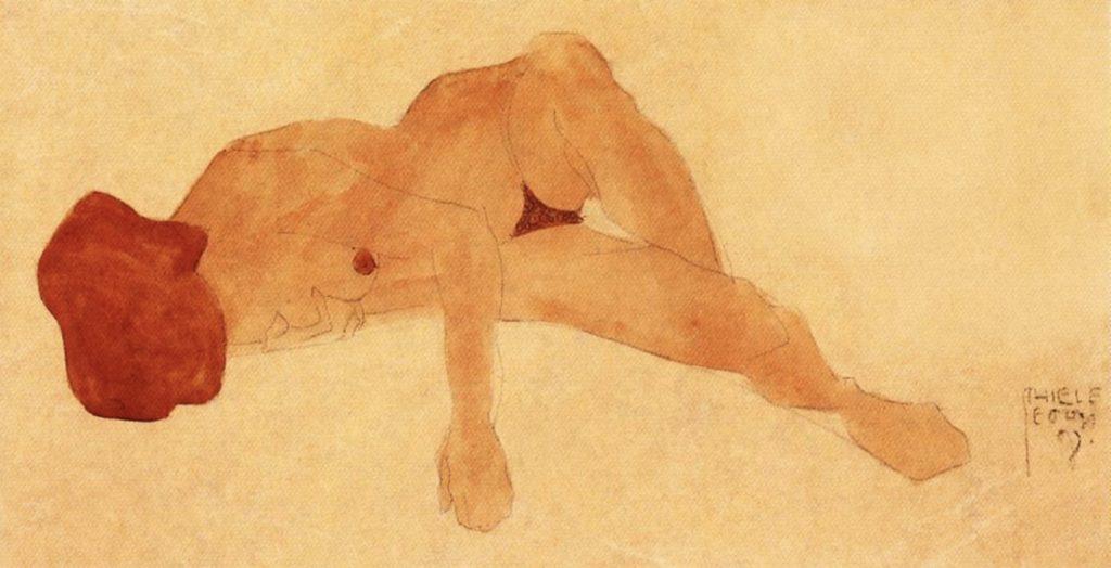 Nu allongé par Egon Schiele