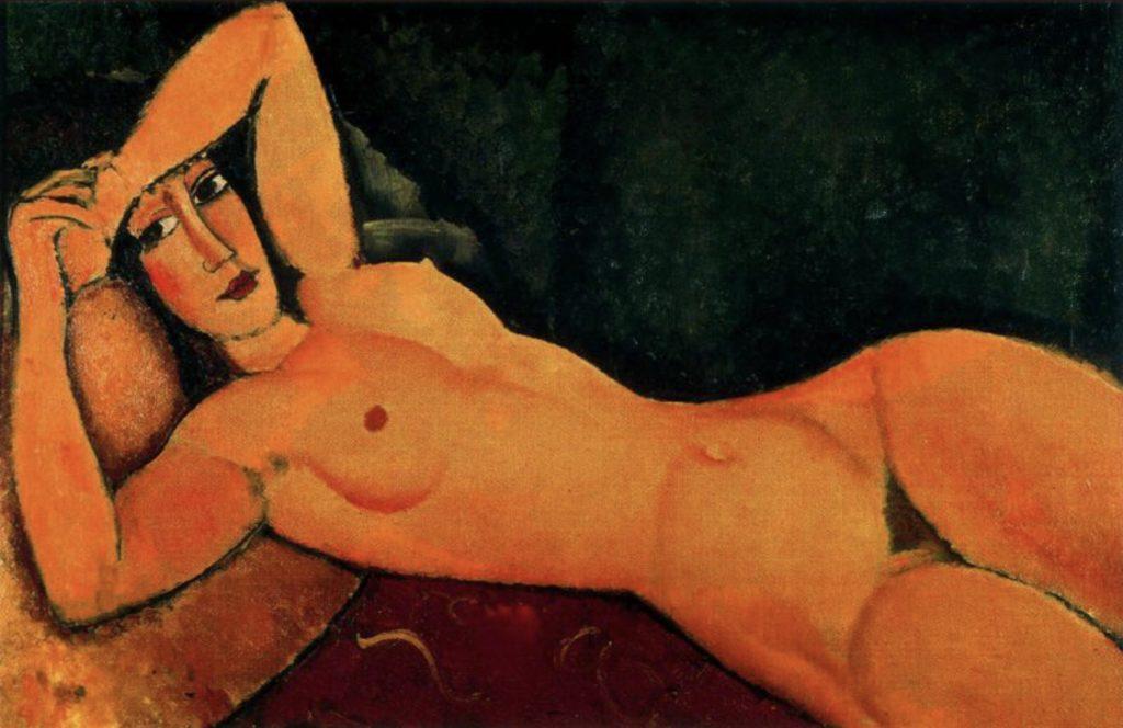 Nu allongé, le bras gauche reposant sur le front par Amedeo Modigliani