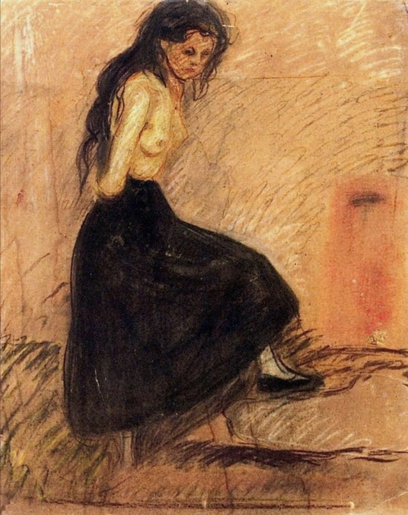 HALF-NUDE IN A BLACK SKIRT d'Edvard Munch