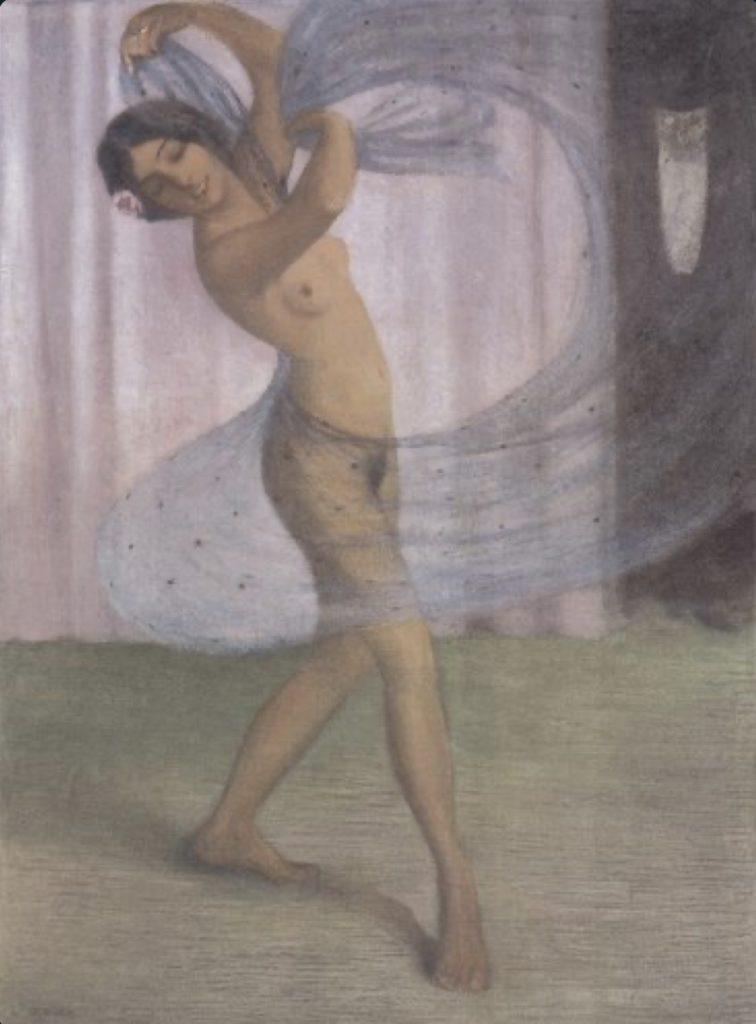 Danseuse avec voile, regardée par un homme, d'Otto Mueller