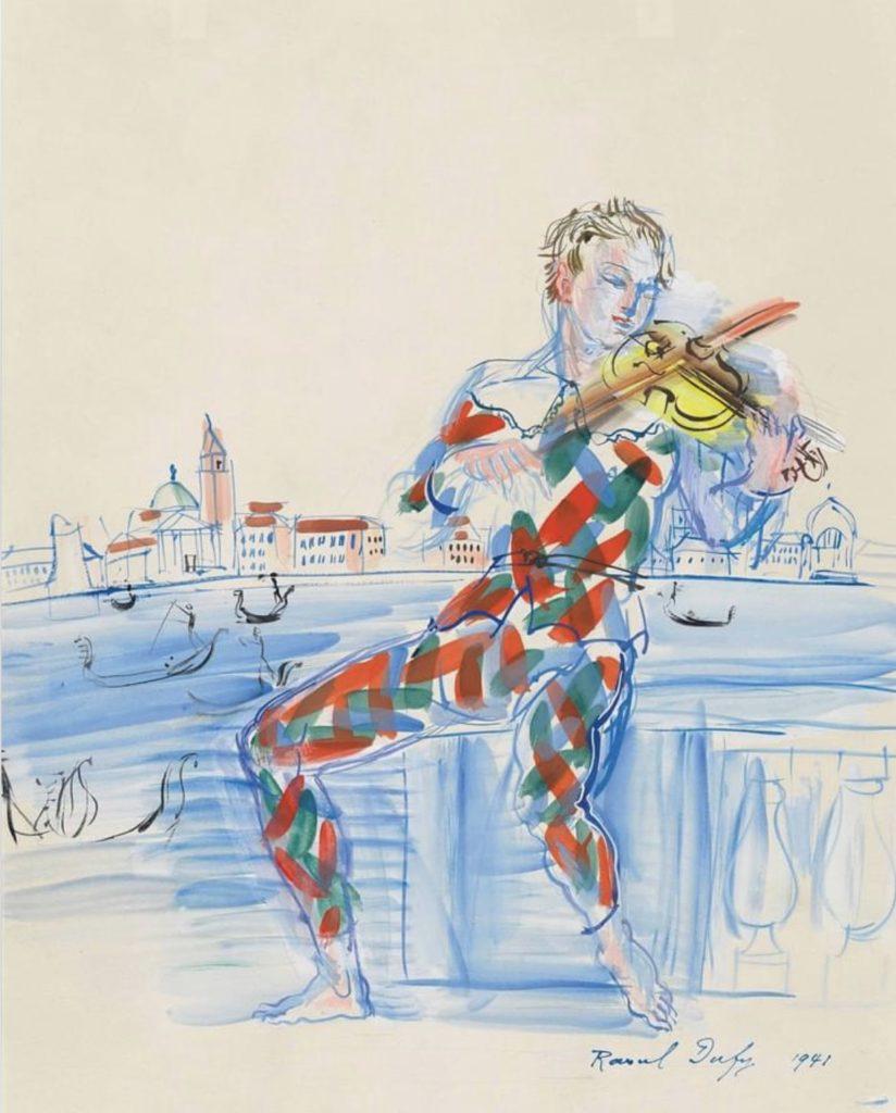 Arlequin à Venise jouant du violon par Raoul Dufy