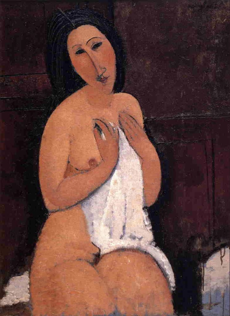 Nu assis avec une chemise d'Amedeo Modigliani
