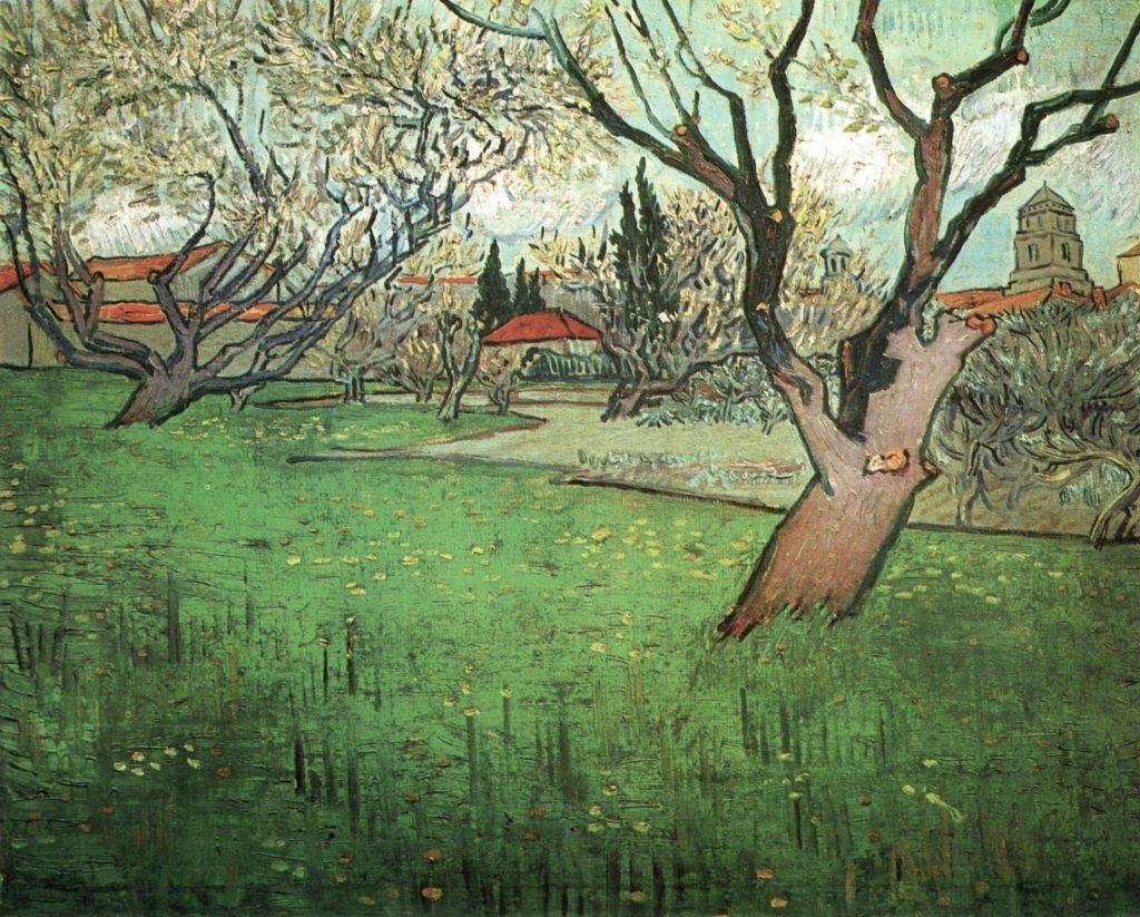 Vue d'Arles avec des arbres en fleurs par Vincent Van Gogh