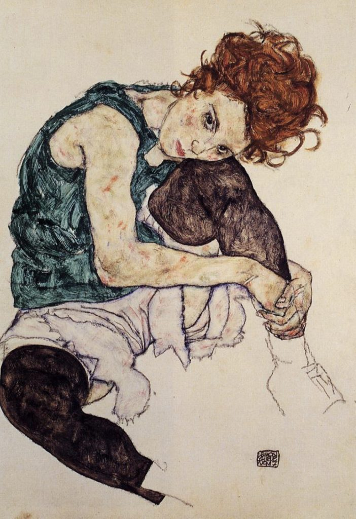 Femme assise au genou replié par Egon Schiele