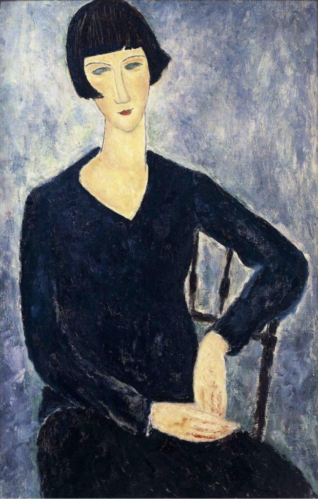 Femme assise à la robe bleue d'Amedeo Modigliani