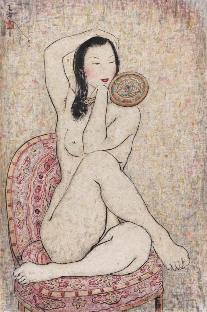 Nu assis tenant un miroir de Pan Yuliang