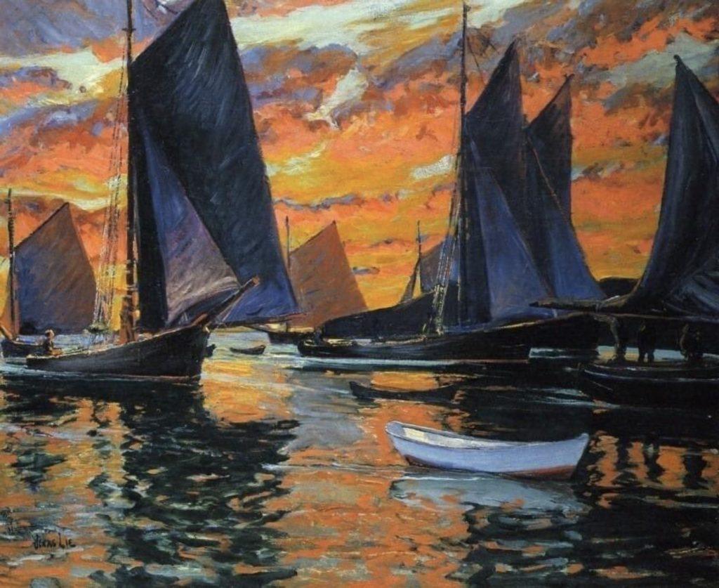 Jonas Lie - Voiliers au coucher du soleil