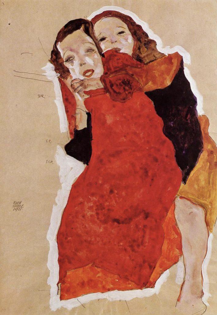 Deux filles par Egon Schiele
