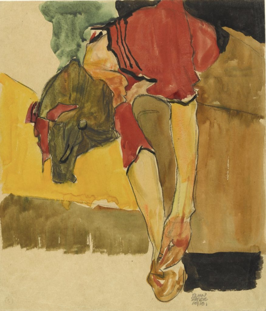Fille se chaussant d'Egon Schiele