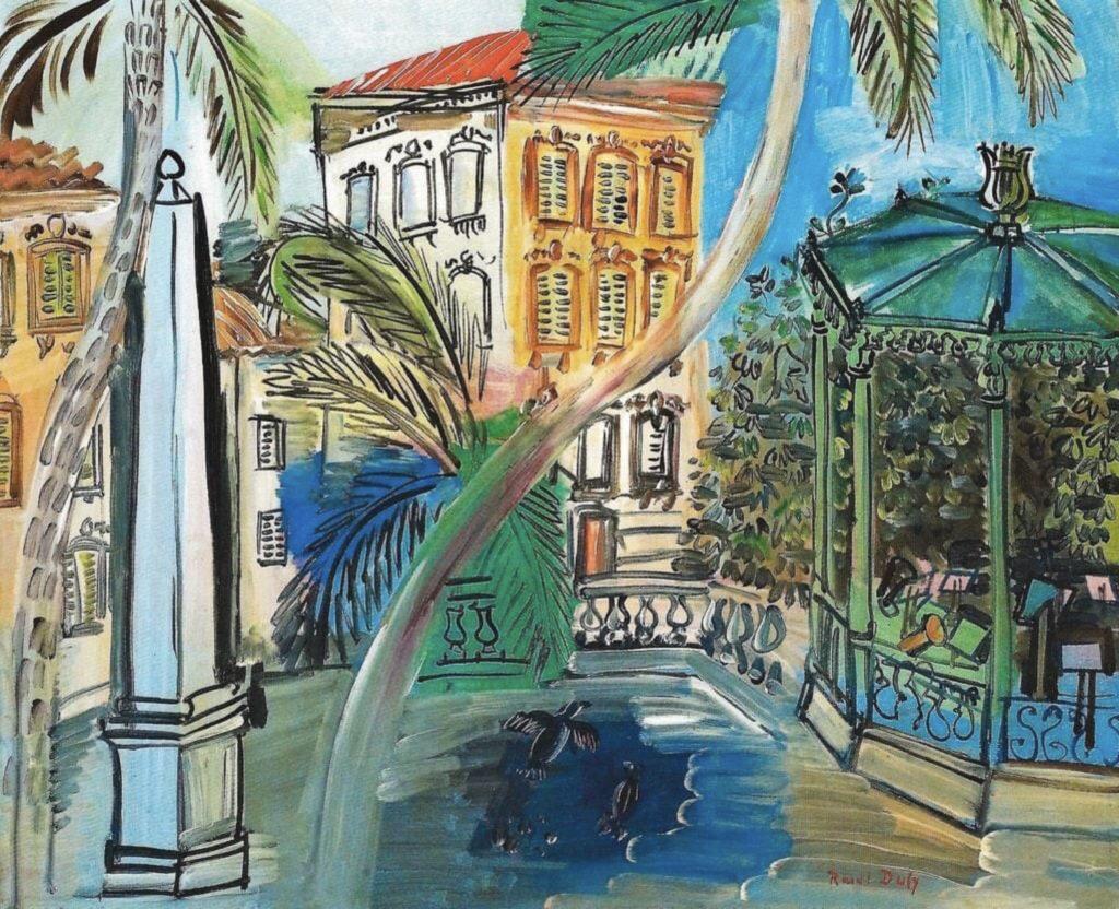 La place d'Hyères, l'obélisque et le kiosque à musique  de Raoul Dufy