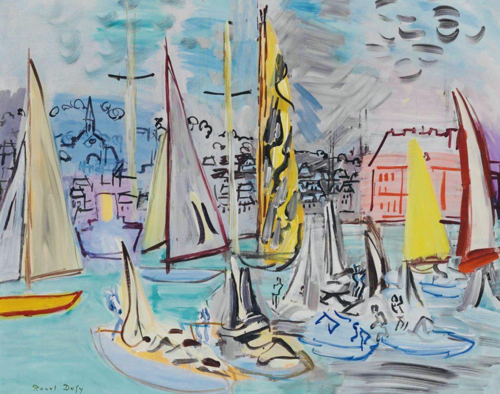 Voiliers dans le port de Deauville par Raoul Dufy