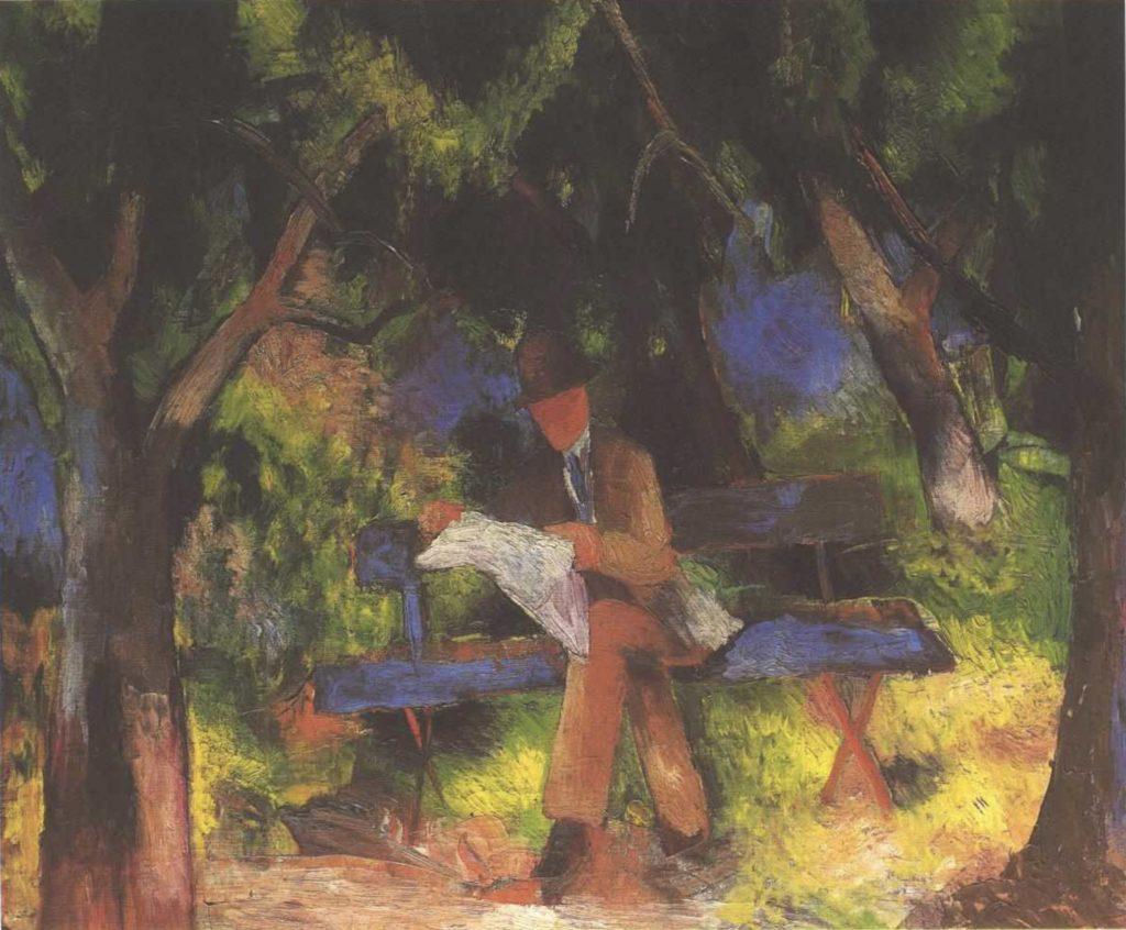 Homme lisant dans le parc d'August Macke