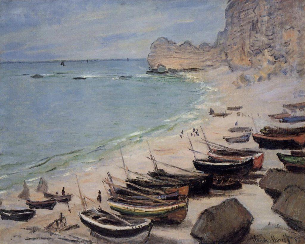 Bateaux sur la plage à Etretat de Claude Monet